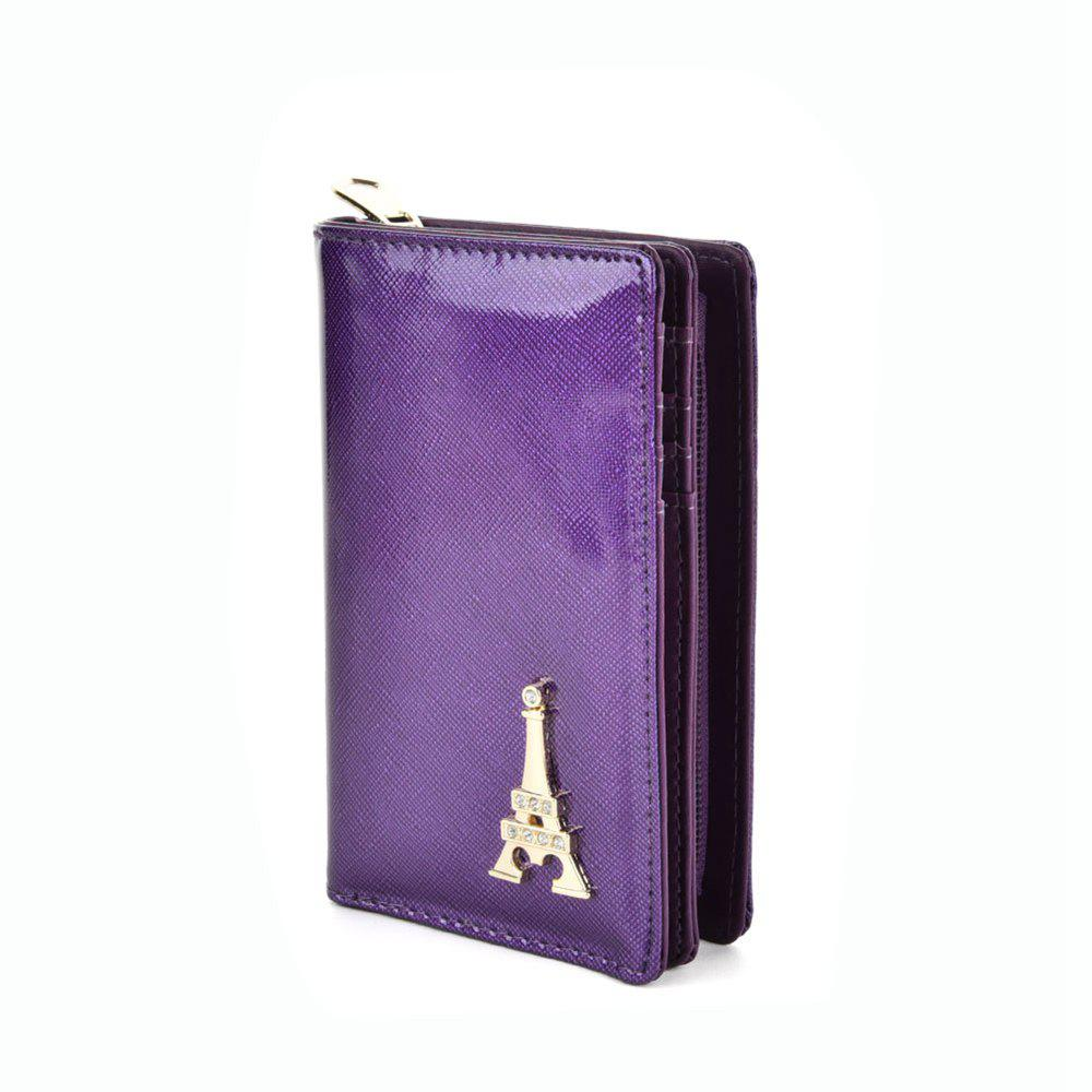 Women's Wallet Metal Decor Short Pattern Zippers Design Purse - PURPLE