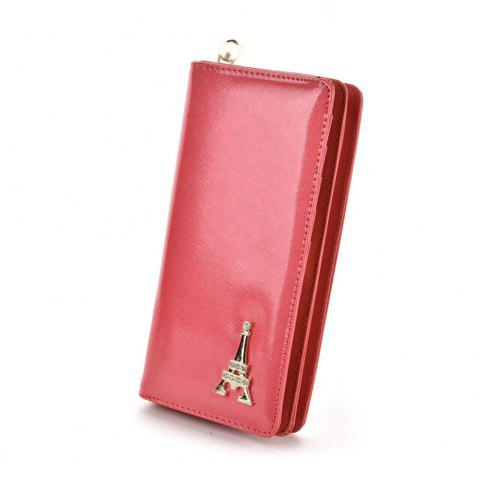 Women's Wallet Solid Color Multi Cards Metal Decor Graceful Wallet - WATERMELON RED