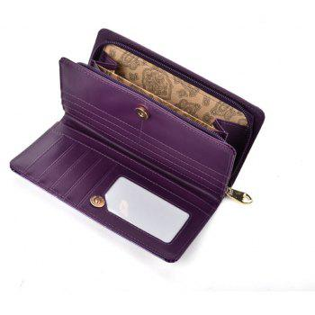 Portefeuille pour femmes Solid Color Multi cartes Metal Decor Graceful Wallet - Pourpre