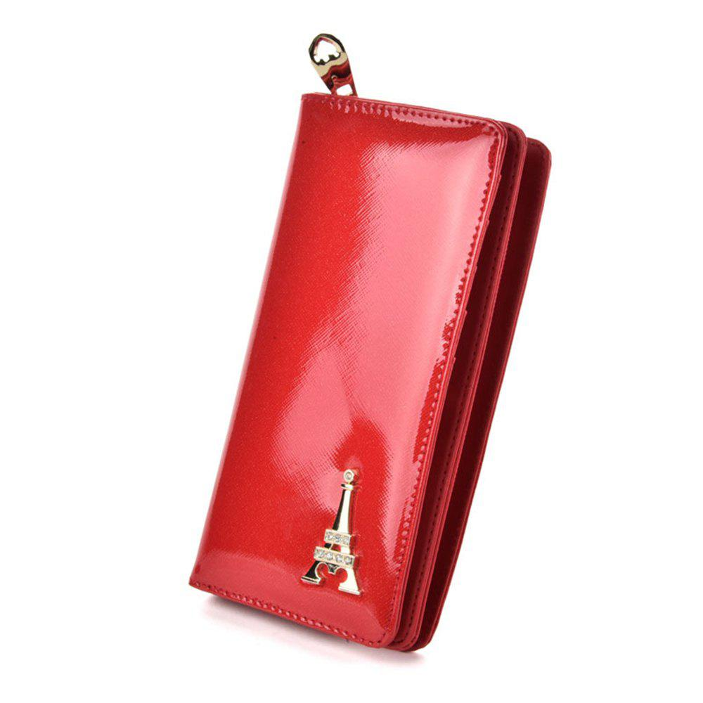 Portefeuille pour femmes Solid Color Multi cartes Metal Decor Graceful Wallet - Rouge