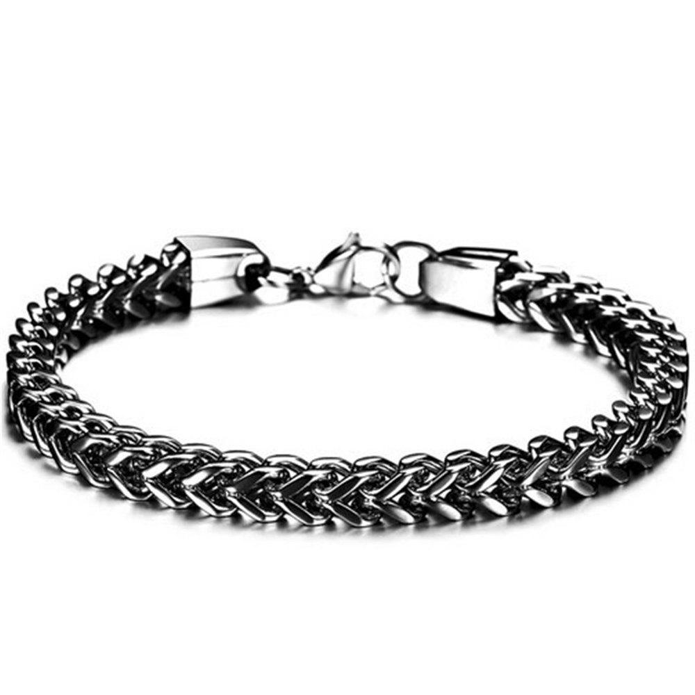 Mens Bracelets Bangles Stainless Steel Wrist Band Hand Chain Jewelry - BLACK