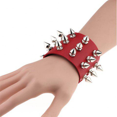 Three Row Cuspidal Spikes Rivet Cuff Leather Punk Gothic Rock Unisex Bangle Bracelet Men Jewelry - RED