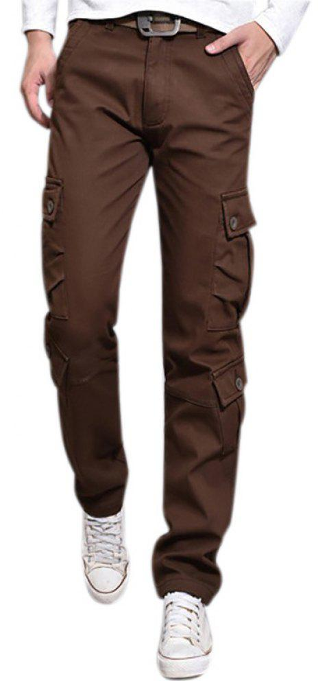 Pants Velvet Leisure Overalls Loose Straight Multi Pocket - MOCHA 34