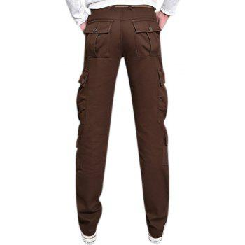 Pants Velvet Leisure Overalls Loose Straight Multi Pocket - MOCHA 28