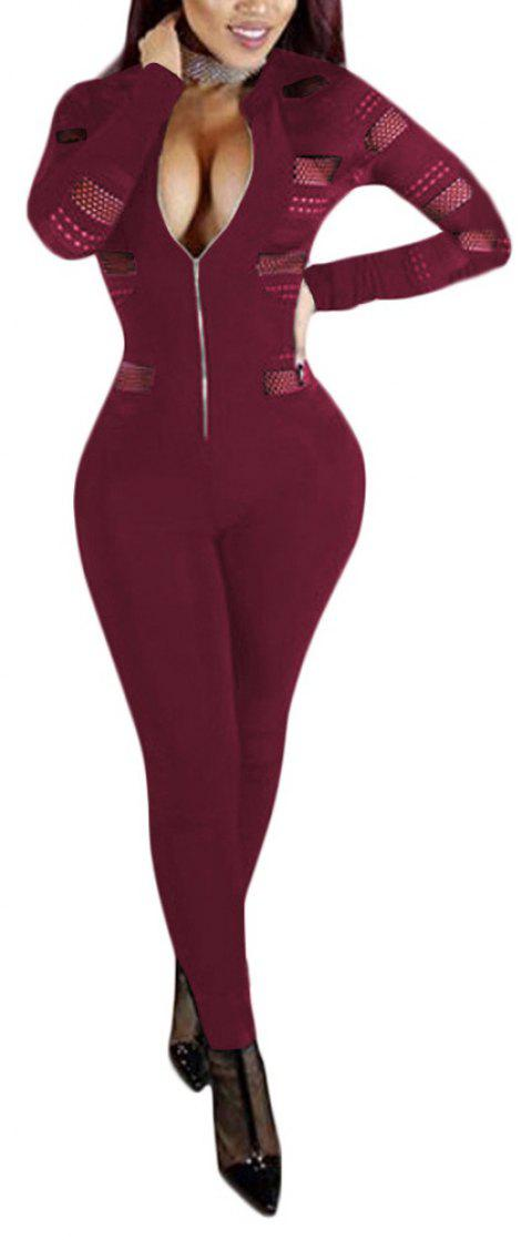 Sexy Mesh Splicing Perspective Slim Jumpsuit - WINE RED M