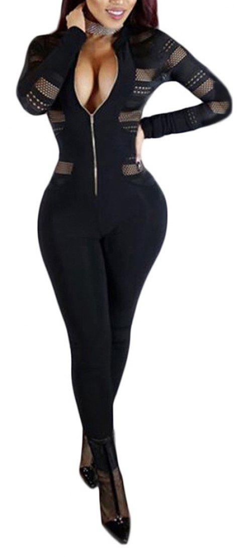 Jumpsuit sexy en maille Splicing Perspective Slim - Noir XL