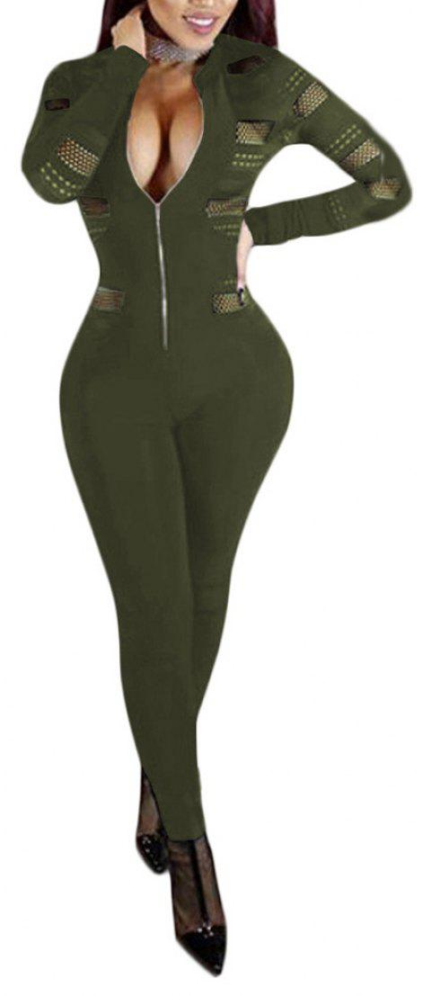 Sexy Mesh Splicing Perspective Slim Jumpsuit - ARMY GREEN L
