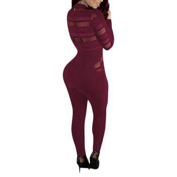 Sexy Mesh Splicing Perspective Slim Jumpsuit - WINE RED XL