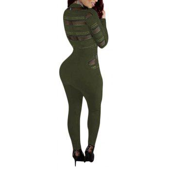 Sexy Mesh Splicing Perspective Slim Jumpsuit - ARMY GREEN S