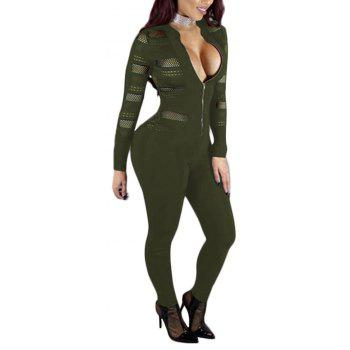 Sexy Mesh Splicing Perspective Slim Jumpsuit - ARMY GREEN XL