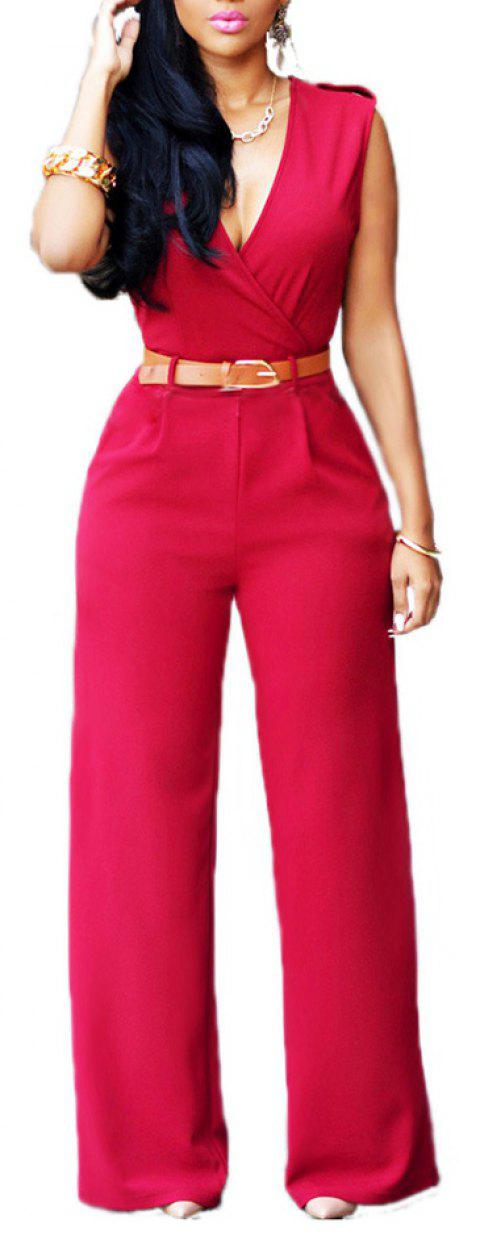 Fashion Loose Slim Jumpsuit Casual - Rouge L