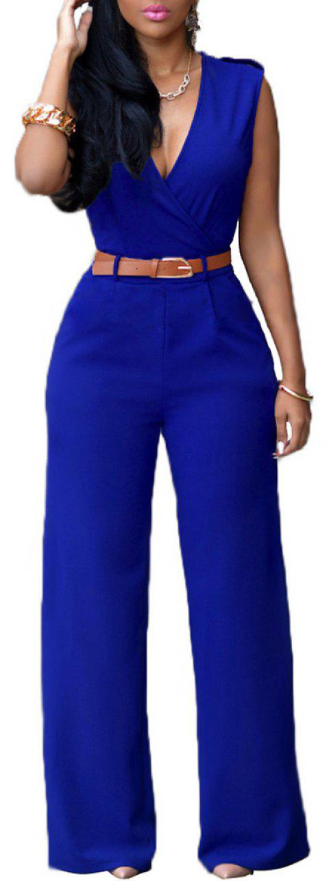 Fashion Loose Slim Jumpsuit Casual - Bleu M