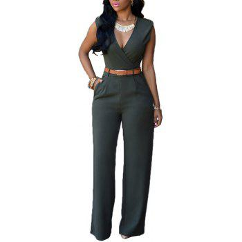 Fashion Loose Slim Casual Jumpsuit - GREEN M