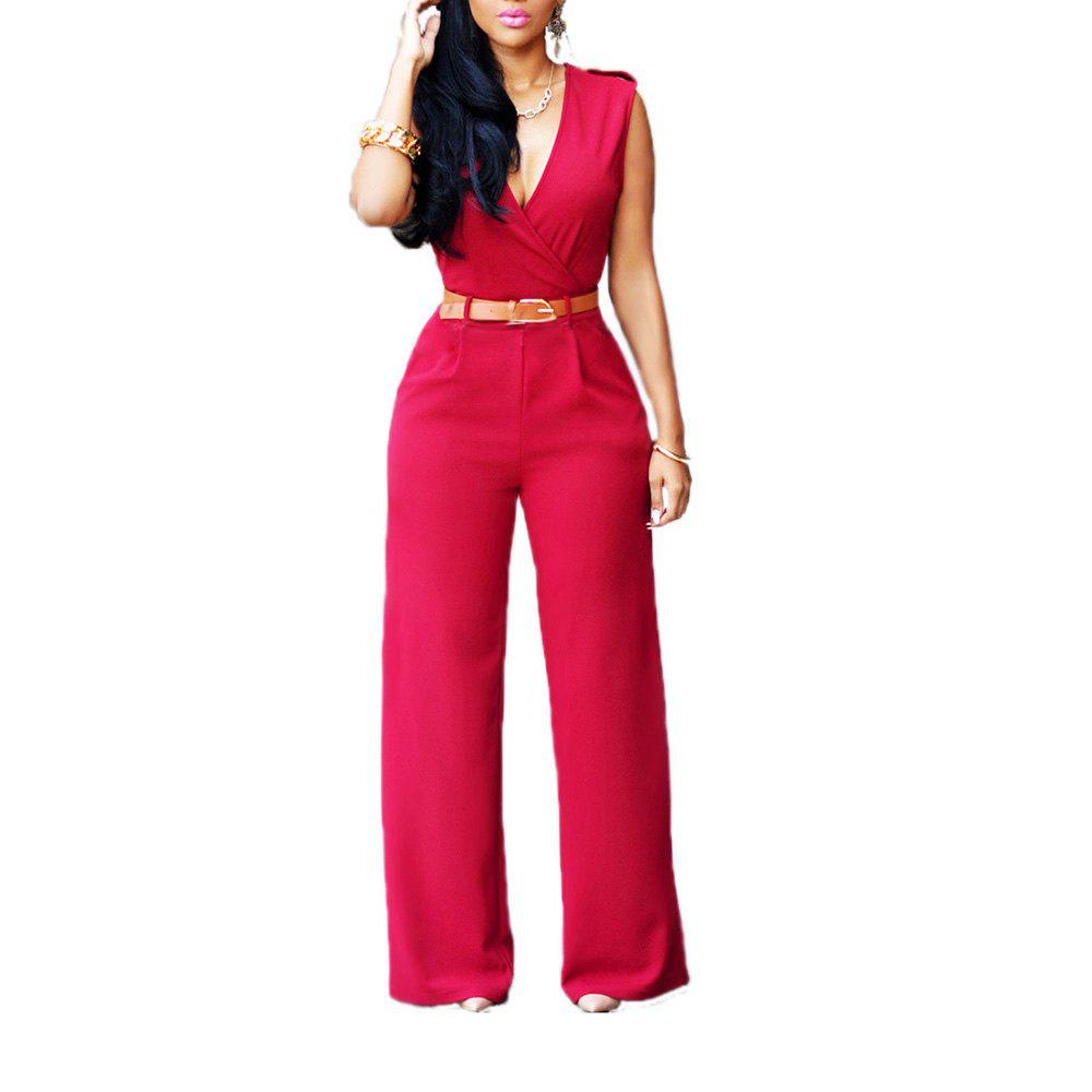 Fashion Loose Slim Casual Jumpsuit - RED S