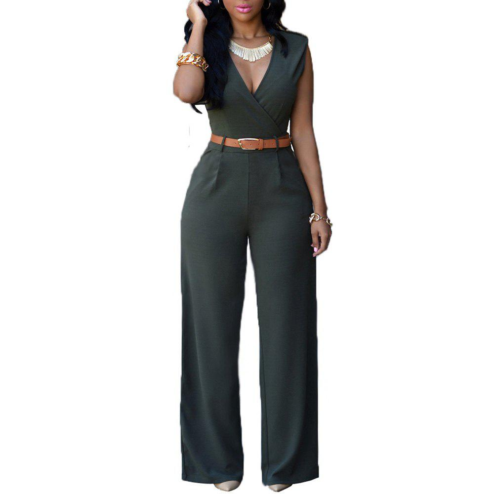 Fashion Loose Slim Casual Jumpsuit - GREEN L
