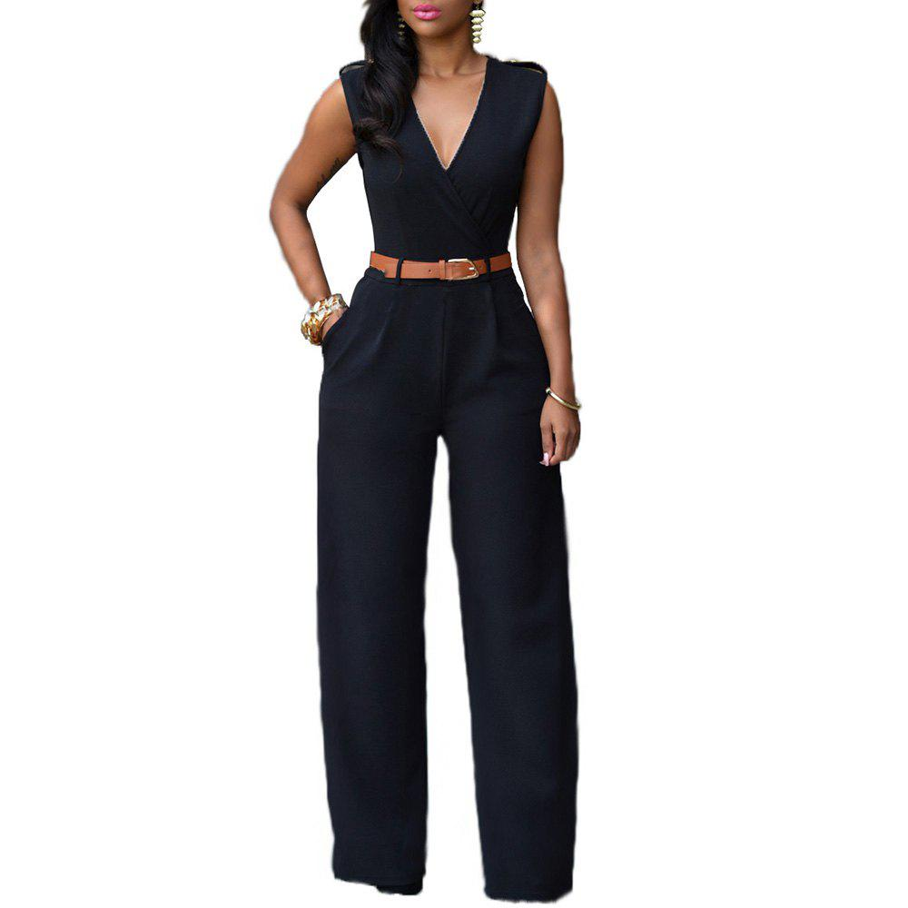 Fashion Loose Slim Casual Jumpsuit - BLACK S
