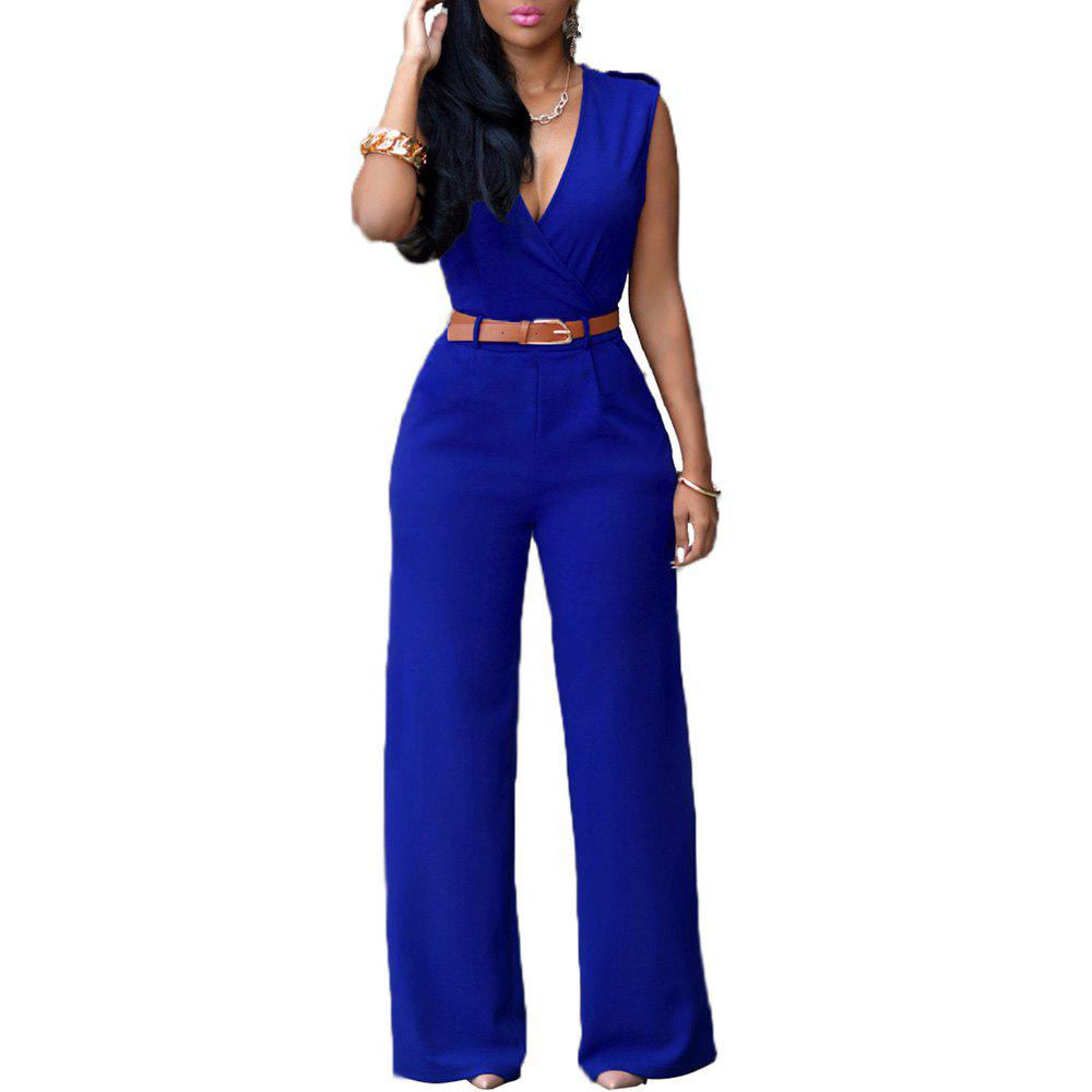 Fashion Loose Slim Casual Jumpsuit - BLUE L