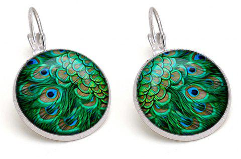 Peacock Feathers and Jewel French Hook and Earrings - SILVER