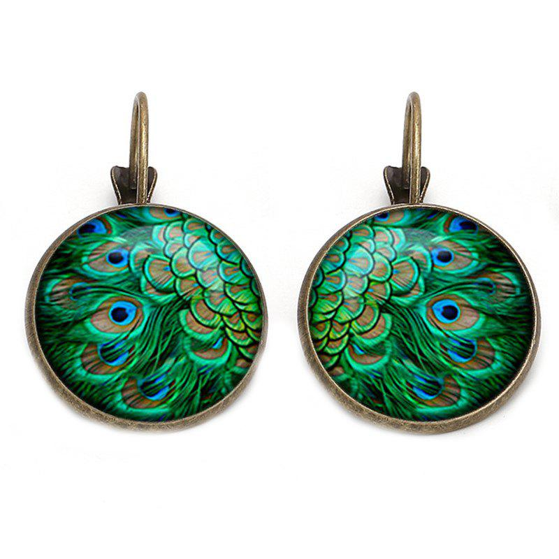 Peacock Feathers and Jewel French Hook and Earrings - BROZEN