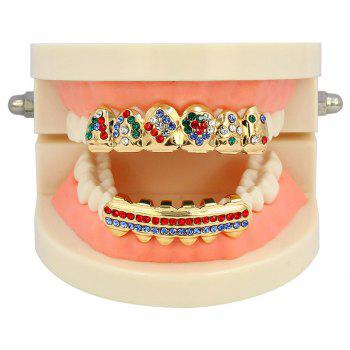 Hip Hop 18K Gold Plated Inlaid Colored D Teeth Grillz - COLOUR
