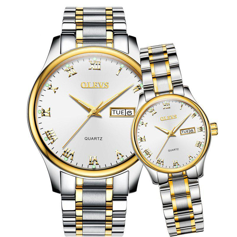 OLEVS 5568 7061 Leisure Fashion Waterproof Steel Band Quartz Watch - SILVER BAND WHITE DIAL GOLDEN CASE