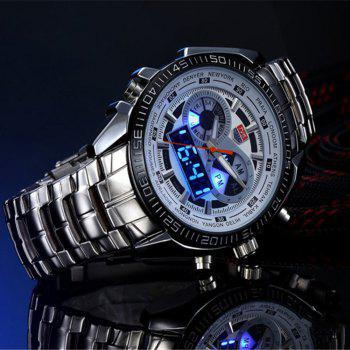 TVG KM-468 3747 Fashionable Leisure Trend Outdoor Sports Night Light Display Steel with Cool Electronic Quartz Watch - WHITE