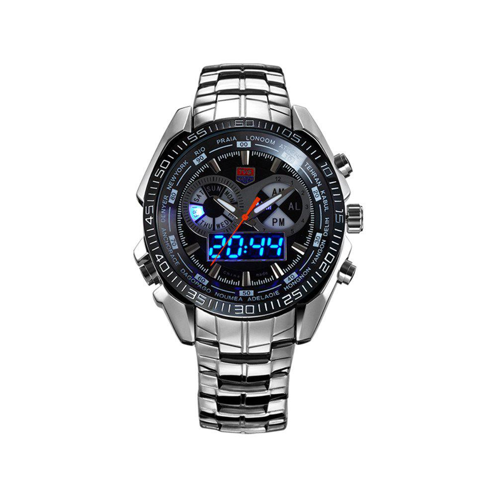 TVG KM-468 3747 Fashionable Leisure Trend Outdoor Sports Night Light Display Steel with Cool Electronic Quartz Watch - BLACK