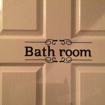 Vintage Wall Sticker Bathroom Decor Toilet Door Vinyl Decal Transfer Vintage Decoration Quote Wall Art - BLACK 28 X 10CM-BATHROOM
