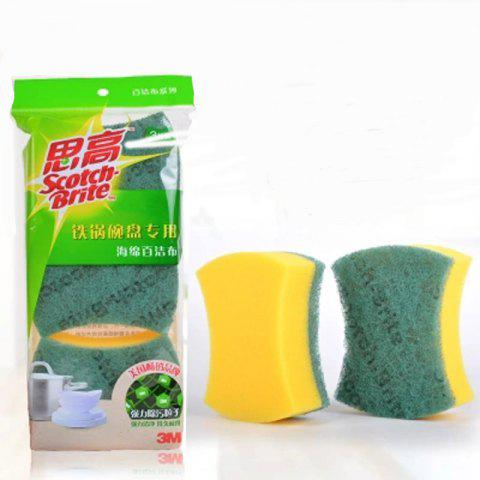 3M Cleaning Sponge Cloth for Iron Pot Bowl 3Pcs - GREEN