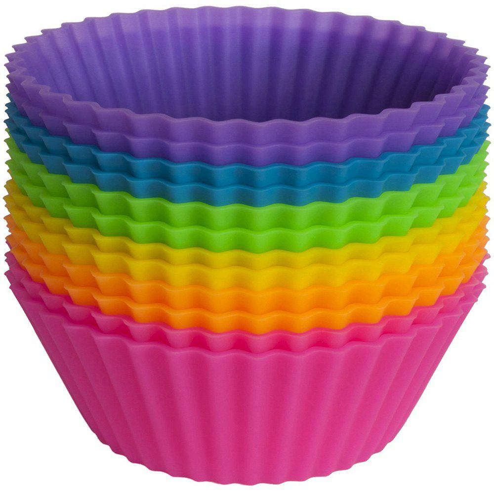 12Pcs Silicone Egg Tart Cupcake Baking Cups Muffin DIY Cake Mold - multicolorCOLOR