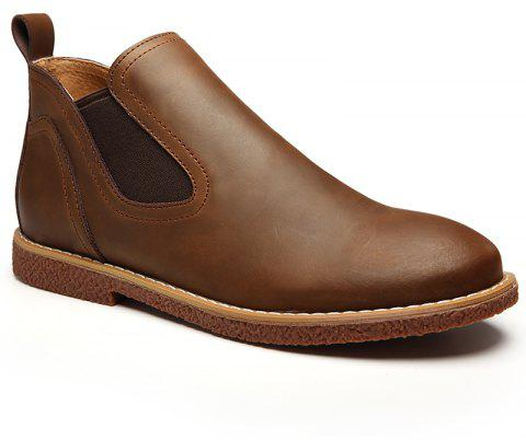 ZEACAVA Men's High Leather Shoes - BROWN 42
