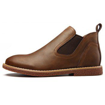 ZEACAVA Men's High Leather Martin Shoes - BROWN 43