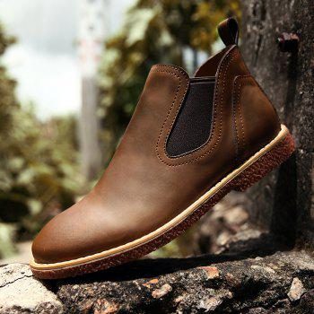 ZEACAVA Men's High Leather Martin Shoes - BROWN 39
