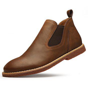 ZEACAVA Men's High Leather Martin Shoes - BROWN 40