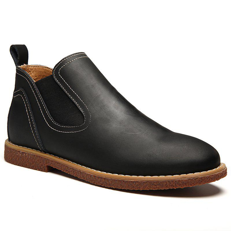 ZEACAVA Men's High Leather Martin Shoes - BLACK 40