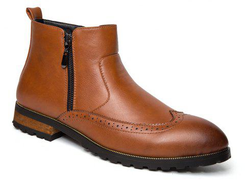ZEACAVA Men's Fashion Trendy High-Top Leather Shoes - BROWN 41