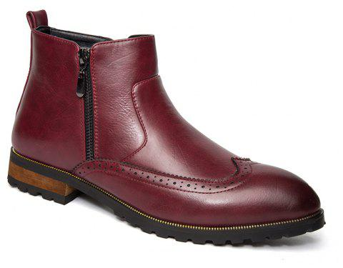 ZEACAVA Men's Fashion Trendy High-Top Leather Shoes - WINE RED 40