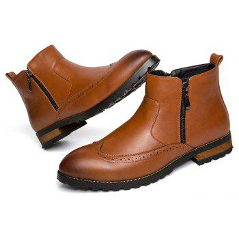 ZEACAVA Men's Fashion Trendy High-Top Leather Shoes - BROWN 39