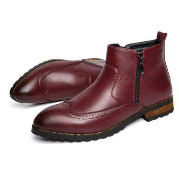 ZEACAVA Men's Fashion Trendy High-Top Leather Shoes - WINE RED 42