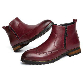 ZEACAVA Men's Fashion Trendy High-Top Leather Shoes - WINE RED 38