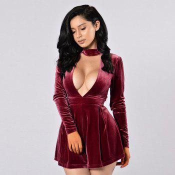 Women's Sexy Deep V Long Sleeve Golden Velvet Strap Jumpsuit - WINE RED S