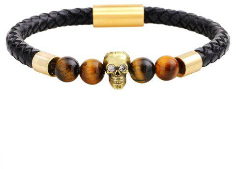 Natural Stones Black Frosted Agate Leather Bracelet - GOLDEN