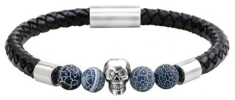 Natural Stones Black Frosted Agate Leather Bracelet - SILVER