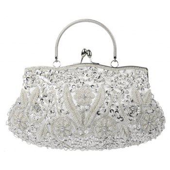 Hand-beaded Dress Package Scarce Vintage Evening Bag - SILVER HORIZONTAL