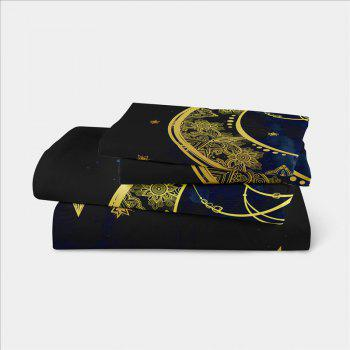 The Universe Series Pendant Three Piece Bedding and Four Sets of AS22 - BLACK GOLD CALIFORNIA KING
