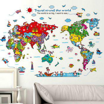 Cartoon Animals World Map Home Decal  for Kids Room Decoration Stickers - COLOUR