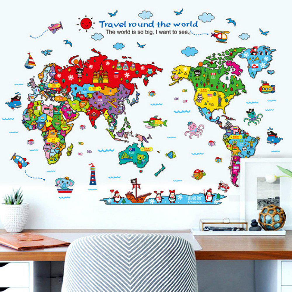 Cartoon Animals World Map Home Decal for Kids Room Decoration Stickers kids draw animals