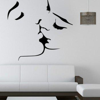 Couple Kissing Family Abstract  Background Bedroom Living Room Decoration Creative Wall Sticker - BLACK