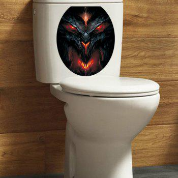 3D  View Bathroom Toilet Horror Stickers Poster Home Decorative - BLACK