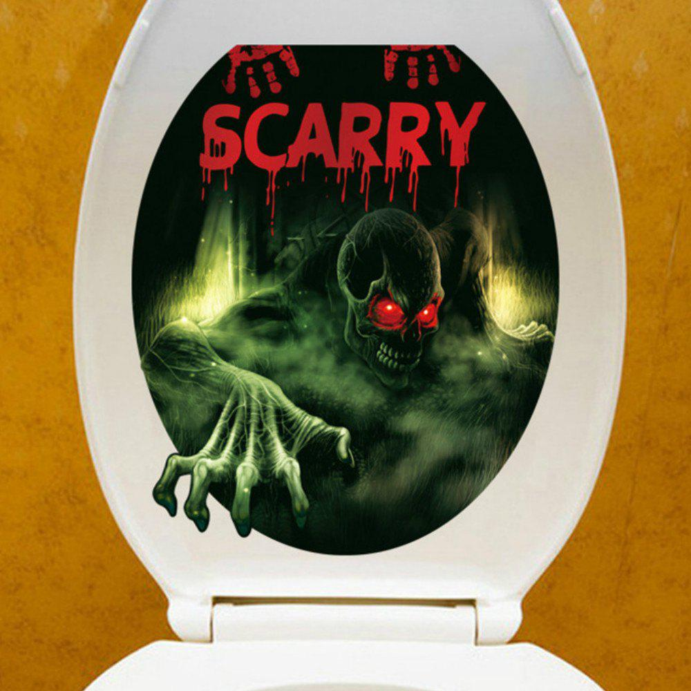 3D  View Bathroom Toilet Horror Stickers Poster Home Decorative - GREEN